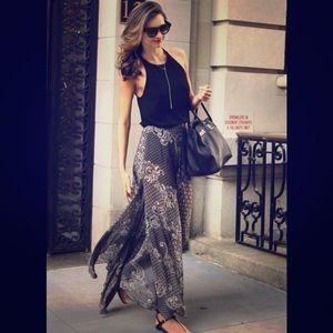 Topshop double slit paisley maxi skirt